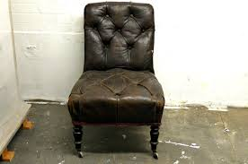 antique brown tufted leather slipper chair