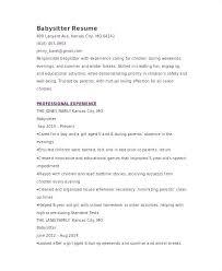 Babysitter Resume Template Unique Sample Babysitter Resume Resume Ideas