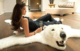 faux polar bear rug add some classic white to your home with fluffy polar bear rug