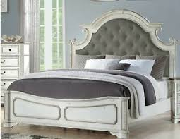 Details about California King Size Bed Antique White Wood Bedroom Furniture Tufted Headboard