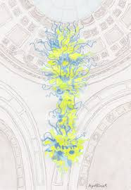 drawing of victoria and albert museum s yellow and blue glass chandelier by dale chihuly