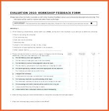 Template Questionnaire Word Workshop Feedback Form Template Erikhays Co