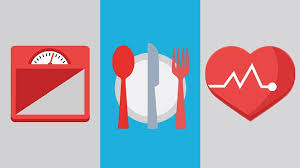 ilration of a scale a plate and cutlery and a heart