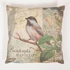 flourish chicadee white bird cushion