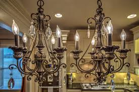 double chandeliers over kitchen island