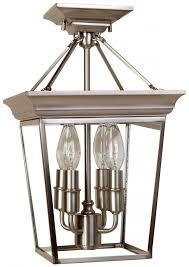 four light satin nickel clear glass cage semi flush mount