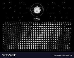 Moon Calendar 2019 Southern Hemisphere Vector Image