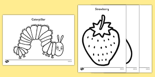 Small Picture Colouring Sheets to Support Teaching on The Very Hungry