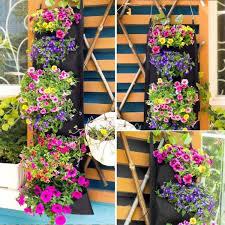 6 pockets vertical hanging plant pot
