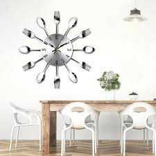 modern large wall clock brief modern large wall clock stainless steel wall watch magic spoon fork