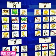 Alphabet Cards Beginning Sounds Pocket Chart Centers And