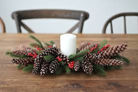 Maine Christmas Centerpieces With Fresh Mixed Greens  Candles Christmas Centerpiece