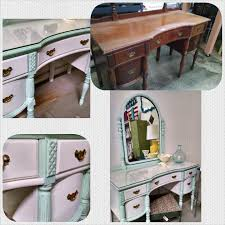 vintage vanity before and after painted with junk gypsy clay chalk paint