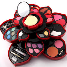 rotating color palette makeup box cosmetic kit beauty tool make up eyeshadow dish make up plum blossom case lipstick eyeliner set free makeup makeup brush