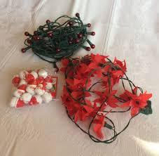 Christmas String Light Covers Christmas Light Strings Red Balls Poinsettia Blossoms Santa