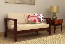 the hugo 2 seater wooden sofa in
