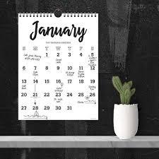 Black White Script Calendar Tf Publishing Calendars Planners