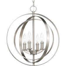 progress lighting equinox brushed nickel multi light transitional cage pendant