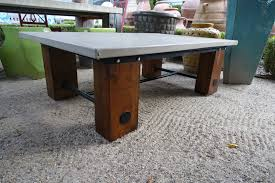 concrete and reclaimed wood coffee table