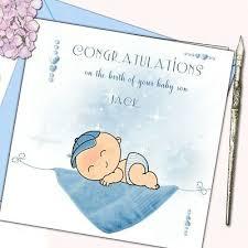 Personalised New Arrival Baby Boy Birth Congratulations Card W Crystals Ebay