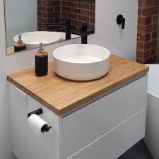 bamboo vanity bathroom. Phoenix Wall Mount Vanity With Bamboo Top 750mm Bathroom