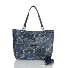 Coach Poppy In Monogram Large Navy Totes BWX