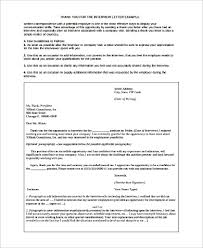 Interview Letters Samples Sample Thank You For The Interview Letter 9 Examples In