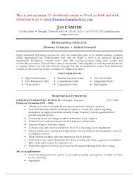 Resume For A Pharmacy Technician Objectives Awesome Sample