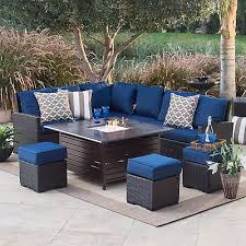 Catchy Blue Patio Furniture with Cream Seat Cushions Wicker Patio