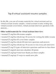Top 8 Virtual Assistant Resume Samples