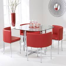 abigail glass dining set with red chairs 6280