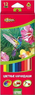 <b>№1 School</b> Набор <b>цветных карандашей</b> ColorPics с точилкой 12 шт