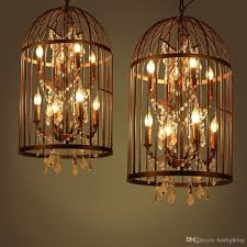 american country old vintage crystal chandelier birdcage indoor lamps bedroom retro wrought iron chandelier led kitchen dining room lighting led kitchen