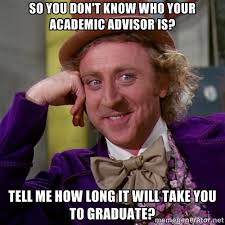 So you don't know who your academic advisor is? Tell me how long ... via Relatably.com