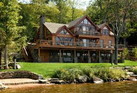 image of log cabin with walkout basement construction