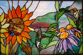 stained glass birds and flowers original by tom nelson