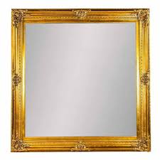 extra large square ornate mirror in gold