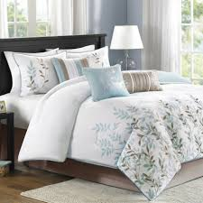 bedroom modern white bedding designs feat blue grey leaf