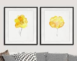 yellow art print yellow watercolor flowers watercolor floral wall art flower print yellow orange decor floral home decor set of 2 11 6 on wall art prints etsy with yellow art print etsy