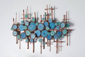 Artful Home Ripples In Blues By Hannie Goldgewicht Mixed Media Wall Sculpture