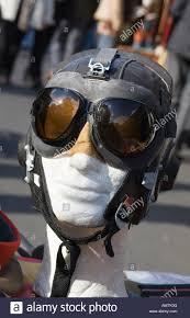 vintage leather helmet goggles stock image