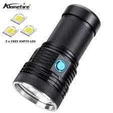 AloneFire Siêu sáng XHP70 60 W mạnh mẽ nhất led đèn pin 13000lm công suất  cao có thể sạc lại đèn flash led ánh sáng đèn lồng cắm trại|LED  Flashlights