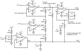 ecg gas station out pumps the ekg circuit has four modules a virtual ground here set to 0 5v