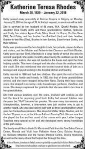 Katherine Rhodes   Obituary   Vulcan Advocate