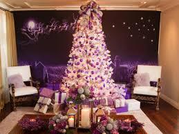White Christmas Tree With Purple Lights 10