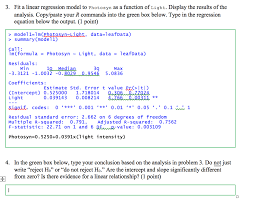 fit a linear regression model to photosyn as a fun