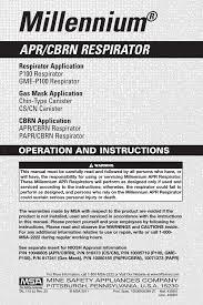 Msa Millennium Gas Mask Size Chart Instruction Manual Millennium Apr Cbrn Respirator