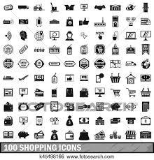 100 買い物 アイコン セット 中に 単純である スタイル イラスト