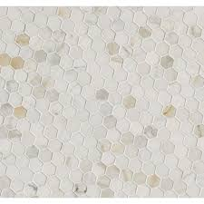 calacatta gold italian polished marble hexagon 1 in x 1 in mosaic tile