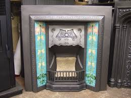 220ti original art nouveau tiled fireplace insert